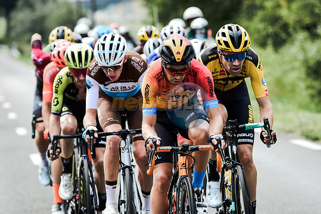 The chase group including Mikel Landa (ESP) Bahrain-McLaren, Romain Bardet (FRA) AG2R and Tom Dumoulin (NED) Team Jumbo-Visma during Stage 5 of Criterium du Dauphine 2020, running 153.5km from Megeve to Megeve, France. 16th August 2020.<br /> Picture: ASO/Alex Broadway   Cyclefile<br /> All photos usage must carry mandatory copyright credit (© Cyclefile   ASO/Alex Broadway)