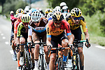 The chase group including Mikel Landa (ESP) Bahrain-McLaren, Romain Bardet (FRA) AG2R and Tom Dumoulin (NED) Team Jumbo-Visma during Stage 5 of Criterium du Dauphine 2020, running 153.5km from Megeve to Megeve, France. 16th August 2020.<br /> Picture: ASO/Alex Broadway | Cyclefile<br /> All photos usage must carry mandatory copyright credit (© Cyclefile | ASO/Alex Broadway)