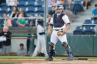 Everett AquaSox catcher Luke Guarnaccia #25 during a game against the Tri-City Dust Devils at Everett Memorial Stadium in Everett, Washington on July 28, 2014. Tri-City defeated Everett 6-5 in 11 innings.  (Ronnie Allen/Four Seam Images)