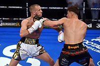 George Davey (black shorts) defeats Jamie Stewart during a Boxing Show at York Hall on 24th April 2021