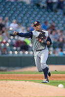 Toledo Mud Hens third baseman Jefry Marte (33) makes a throw to first base against the Charlotte Knights at BB&T BallPark on April 27, 2015 in Charlotte, North Carolina.  The Knights defeated the Mud Hens 7-6 in 10 innings.   (Brian Westerholt/Four Seam Images)