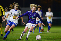 20180126 - OOSTAKKER , BELGIUM : Anderlecht's Charlotte Tison (right) pictured on the ball in front of Gent's Marie Minnaert (left) during the quarter final of Belgian cup 2018 , a womensoccer game between KAA Gent Ladies and RSC Anderlecht , at the PGB stadion in Oostakker , friday 27 th January 2018 . PHOTO SPORTPIX.BE   DAVID CATRY