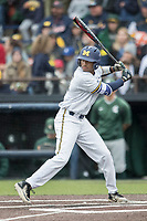 Michigan Wolverines outfielder Johnny Slater (25) at bat against the Michigan State Spartans on May 19, 2017 at Ray Fisher Stadium in Ann Arbor, Michigan. Michigan defeated Michigan State 11-6. (Andrew Woolley/Four Seam Images)