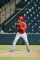 AZL Angels third baseman Julio Garcia (3) shows bunt during a game against the AZL Indians on August 7, 2017 at Tempe Diablo Stadium in Tempe, Arizona. AZL Indians defeated the AZL Angels 5-3. (Zachary Lucy/Four Seam Images)