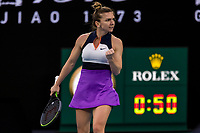 8th February 2021; Melbourne, Victoria, Australia;  Simona Halep of Romania celebrates after winning a game during round 1 of the 2021 Australian Open on February 8 2020, at Melbourne Park in Melbourne, Australia.