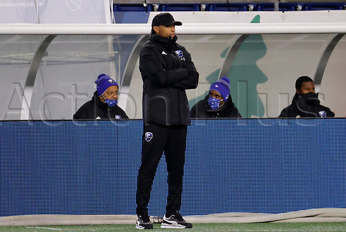 20th November 2020; Foxborough, MA, USA;  Montreal Impact head coach Thierry Henry in the coaches box during the MLS Cup Play-In game between the New England Revolution and the Montreal Impact