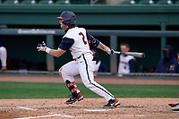 Second baseman Brody Harding (2) of the Illinois Fighting Illini bats in a game against the Ohio State Buckeyes on Friday, March 5, 2021, at Fluor Field at the West End in Greenville, South Carolina. (Tom Priddy/Four Seam Images)