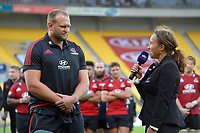 Crusaders 100-match centurion Joe Moody and NZ Rugby's Farah Palmer after the Super Rugby Aotearoa match between the Hurricanes and Crusaders at Sky Stadium in Wellington, New Zealand on Sunday, 11 April 2020. Photo: Dave Lintott / lintottphoto.co.nz