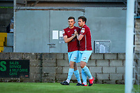 Jake Hegarty of Cobh Ramblers celebrates with Daryl Walsh after scoring the first goal for his side.<br /> <br /> Cobh Ramblers v Cork City, SSE Airtricity League Division 1, 28/5/21, St. Colman's Park, Cobh.<br /> <br /> Copyright Steve Alfred 2021.