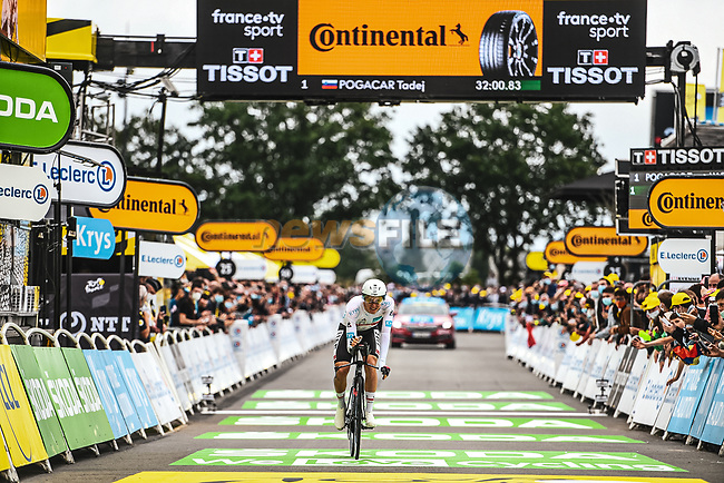 Tadej Pogacar (SLO) UAE Team Emirates crosses the finish line to win Stage 5 of the 2021 Tour de France, an individual time trial running 27.2km from Change to Laval, France. 30th June 2021.  <br /> Picture: A.S.O./Charly Lopez   Cyclefile<br /> <br /> All photos usage must carry mandatory copyright credit (© Cyclefile   A.S.O./Charly Lopez)