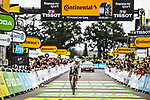Tadej Pogacar (SLO) UAE Team Emirates crosses the finish line to win Stage 5 of the 2021 Tour de France, an individual time trial running 27.2km from Change to Laval, France. 30th June 2021.  <br /> Picture: A.S.O./Charly Lopez | Cyclefile<br /> <br /> All photos usage must carry mandatory copyright credit (© Cyclefile | A.S.O./Charly Lopez)