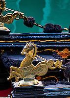 Ornate gondola detail, Venice, Italy