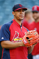 Jon Jay #19 of the St. Louis Cardinals before a game against the Los Angeles Angels at Angel Stadium on July 3, 2013 in Anaheim, California. (Larry Goren/Four Seam Images)