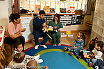 Education preschool 3-4 year olds circle time visitors from dental school outreach program talking to children about upcoming dental examination horizontal