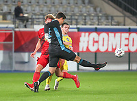 goalkeeper Senne Lammens (12) of Belgium kicks the ball away during a soccer game between the national teams Under21 Youth teams of Belgium and Kazakhstan on the third matday in group I for the qualification for the Under 21 EURO 2023 , on friday 8 th of october 2021  in Leuven , Belgium . PHOTO SPORTPIX | SEVIL OKTEM