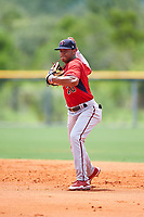 GCL Twins second baseman Ricky De La Torre (70) throws to first base during the first game of a doubleheader against the GCL Rays on July 18, 2017 at Charlotte Sports Park in Port Charlotte, Florida.  GCL Twins defeated the GCL Rays 11-5 in a continuation of a game that was suspended on July 17th at CenturyLink Sports Complex in Fort Myers, Florida due to inclement weather.  (Mike Janes/Four Seam Images)