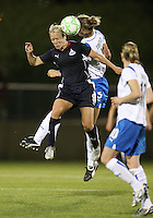 Lori Lindsey #6 of the Washington Freedom goes up for a header against Maggie Tomecks #5 of the Boston Breakers during a WPS match at the Maryland Soccerplex, in Boyd's, Maryland, on April 18 2009. Breakers won the match 3-1.