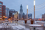 A dusting of snow at the Rose Kennedy Greenway, Boston, Massachusetts, USA