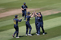 Ruaidhri Smith of Glamorgan celebrates with his team mates after taking the wicket of Tom Westley during Glamorgan vs Essex Eagles, Vitality Blast T20 Cricket at the Sophia Gardens Cardiff on 13th June 2021