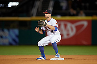 Buffalo Bisons second baseman Jon Berti (8) waits for a throw waits for a throw during a game against the Pawtucket Red Sox on August 31, 2017 at Coca-Cola Field in Buffalo, New York.  Buffalo defeated Pawtucket 4-2.  (Mike Janes/Four Seam Images)