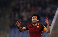 Calcio, Serie A: Roma vs Inter. Roma, stadio Olimpico, 19 marzo 2016.<br /> Roma's Mohamed Salah reacts during the Italian Serie A football match between Roma and FC Inter at Rome's Olympic stadium, 19 March 2016. The game ended 1-1.<br /> UPDATE IMAGES PRESS/Isabella Bonotto