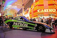 Oct. 27, 2011; Las Vegas, NV, USA: The car of NHRA funny car driver Alexis DeJoria on display during the fanfest at Fremont Street. Mandatory Credit: Mark J. Rebilas-US PRESSWIRE