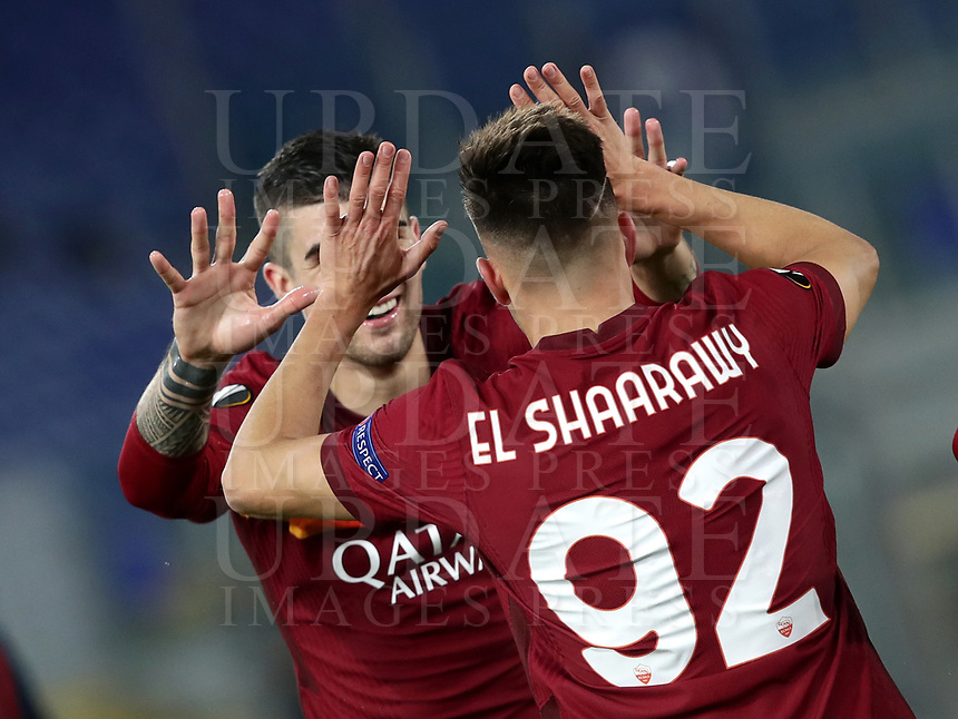 Football Soccer: Europa League -Round of 16 1nd leg AS Roma vs FC Shakhtar Donetsk, Olympic Stadium. Rome, Italy, March 11, 2021.<br /> Roma's Stephan El Shaarawy (R) celebrates after scoring with his teammate Gianluca Mancini (L) during the Europa League football soccer match between  Roma and  Shakhtar Donetsk at Olympic Stadium in Rome, on March 11, 2021.<br /> UPDATE IMAGES PRESS/Isabella Bonotto