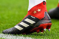 Paul Pogba of Manchester United (6) wearing 'adidas Paul Pogba'  during the Premier League match between Brighton and Hove Albion and Manchester United at the American Express Community Stadium, Brighton and Hove, England on 19 August 2018. Photo by Edward Thomas / PRiME Media Images.
