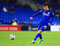 28th September 2021; Cardiff City Stadium, Cardiff, Wales;  EFL Championship football, Cardiff versus West Bromwich Albion; Ryan Giles of Cardiff City passes the ball