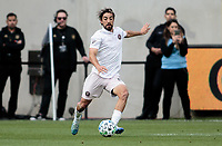 LOS ANGELES, CA - MARCH 01: Rodolfo Pizarro #10 of Inter Miami CF dribbles with the ball during a game between Inter Miami CF and Los Angeles FC at Banc of California Stadium on March 01, 2020 in Los Angeles, California.