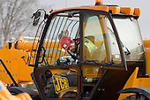 Trainee JCB operator at the Plant Training Centre on the Olympic Park site in Stratford.