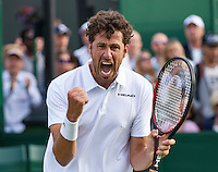 London, England, 27 june, 2016, Tennis, Wimbledon, Robin Haase (NED) celebrates match point during his  match against Diego Schwartzman (ARG)<br /> Photo: Henk Koster/tennisimages.com
