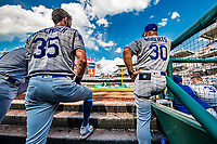 20 May 2018: Los Angeles Dodgers first baseman Cody Bellinger and Manager Dave Roberts watch play from the dugout during a game against the Washington Nationals at Nationals Park in Washington, DC. The Dodgers defeated the Nationals 7-2, sweeping their 3-game series. Mandatory Credit: Ed Wolfstein Photo *** RAW (NEF) Image File Available ***