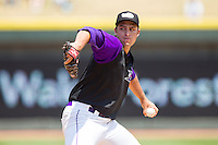 Winston-Salem Dash relief pitcher Sean Hagan (27) in action against the Myrtle Beach Pelicans at BB&T Ballpark on May 7, 2014 in Winston-Salem, North Carolina.  The Pelicans defeated the Dash 5-4 in 11 innings.  (Brian Westerholt/Four Seam Images)