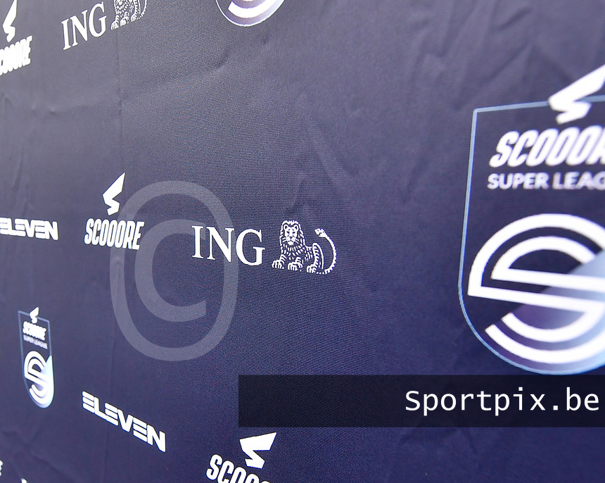 illustration picture showing the super league banner with the ING logo on it during a female soccer game between Club Brugge Dames YLA and Zulte Waregem Ladies on the third matchday of the 2020 - 2021 season of Belgian Scooore Womens Super League , saturday 3 October 2020  in Brugge , Belgium . PHOTO SPORTPIX.BE | SPP | DAVID CATRY
