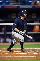 Charlotte Stone Crabs catcher Joey Roach (8) follows through on a swing during the second game of a doubleheader against the St. Lucie Mets on April 24, 2018 at First Data Field in Port St. Lucie, Florida.  St. Lucie defeated Charlotte 5-3.  (Mike Janes/Four Seam Images)