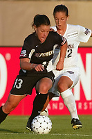 Jen Lalor of the NY Power keeps the ball away from Sarah Kate Noftsinger of the Washington Freedom. The Freedom defeated the Power 4-2 on Saturday August 10, at Mitchel Athletic Complex, Uniondale, NY.