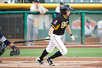 Tony Campana (6) of the Salt Lake Bees at bat against the Tacoma Rainiers in Pacific Coast League action at Smith's Ballpark on July 8, 2014 in Salt Lake City, Utah.  (Stephen Smith/Four Seam Images)
