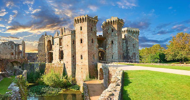 Raglan Castle (Welsh, Castell Rhaglan) a late medieval castle built by Sir William Thomas in the mid 1400's. Raglan Castle , Monmouthshire, Wales