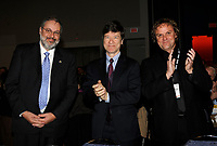 Montreal (Qc) CANADA - April 16 2009 - Exclusive Photo<br /> Pierre Arcand, Quebec  Minister of International Relations and Minister responsible for La Francophonie (L) and <br /> Ecomonist Jeffrey Sachs (m) and organiser daniel germain (r)  during Montreal's 2009 Millenium Summit