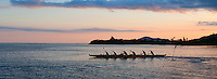 Outrigger canoe at dusk