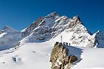 CHE, Schweiz, Kanton Bern, Berner Oberland, Grindelwald: Blick vom Jungfraujoch ueber den Grossen Aletschgletscher auf die Jungfrau 4.158 m und das Rottalhorn (links) 3.969 m - UNESCO Weltnaturerbe | CHE, Switzerland, Bern Canton, Bernese Oberland, Grindelwald: view from Jungfraujoch across Great Aletsch Glacier at Jungfrau mountain 13.642 ft. and Rottalhorn mountain (left) 13.022 ft. - UNESCO World Natural Heritage