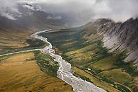 Aerial of the Itkillik river, Brooks Range mountains, Gates of the Arctic National Park, Alaska.