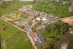 Amador County during spring from the air..Argonaut High School..Amador County Courthouse