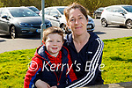 Dylan Davey enjoying his lunch in the Tralee Bay Wetlands on Tuesday with his mum Siobhan Begley.