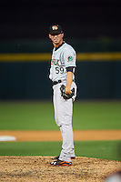 Norfolk Tides relief pitcher Oliver Drake (59) during a game against the Buffalo Bisons on July 18, 2016 at Coca-Cola Field in Buffalo, New York.  Norfolk defeated Buffalo 11-8.  (Mike Janes/Four Seam Images)