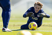 BRADENTON, FL - JANUARY 19: Brady Scott makes the save during a training session at IMG Academy on January 19, 2021 in Bradenton, Florida.