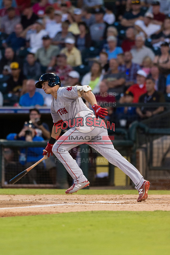 AFL East third baseman Bobby Dalbec (11), of the Mesa Solar Sox and Boston Red Sox organization, starts down the first base line during the Arizona Fall League Fall Stars game at Surprise Stadium on November 3, 2018 in Surprise, Arizona. The AFL West defeated the AFL East 7-6 . (Zachary Lucy/Four Seam Images)