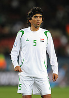 Nashat Akram of Iraq. Iraq and New Zealand tied 0-0 during the FIFA Confederations Cup at Ellis Park Stadium in Johannesburg, South Africa on June 20, 2009..