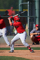 Los Angeles Angels Dalton Blumenfeld (9) during an instructional league game against the Oakland Athletics on October 9, 2015 at the Tempe Diablo Stadium Complex in Tempe, Arizona.  (Mike Janes/Four Seam Images)